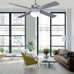 Ventilatore da soffitto, Libetronic Silver, 107cm, pale argento e legno di faggio, con luce e telecomando, Lba Home.