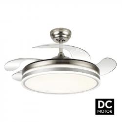 Ventilatore da soffitto, Bayomo, DC,107cm, con pale a scomparsa trasparenti, corpo nickel, design, con luce, Lba Home