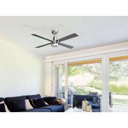 Ventilatore da soffitto, Electron, DC, 122cm, iper silenzioso, cromo/ pale acero e grigie, LED+dimmer, wifi, termostato,Klassfan