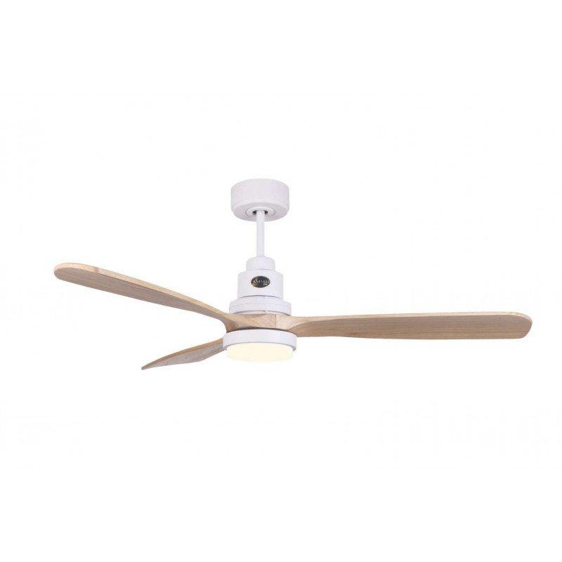 Ventilatore da soffitto, Lanzarote WI SW-LT, 132 cm, DC, corpo bianco/legno chiaro, telecomando e Wifi, termostato, Klassfan