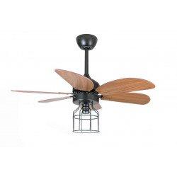 Ventilatore da soffitto, Toronto, 91,5 cm, industrial, acciaio nero e pale noce, con luce, termostato, wifi, Klassfan