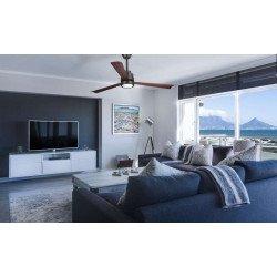 Ventilatore da soffitto, Nass Black, 132 cm, DC, design, nero opaco/legno scuro, con luce LED, wifi, termostato, Klassfan