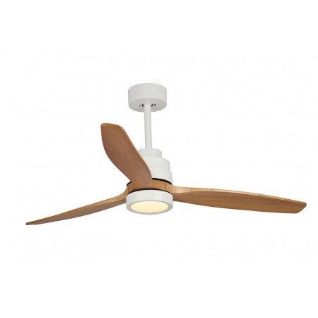 Ventilatore da soffitto, Venus Wi, 132 cm, DC, bianco/legno chiaro, luce LED, wifi, termostato, Klassfan