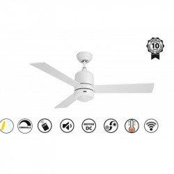 Ventilatore da soffitto, Sirocco II,122cm, DC, bianco, luce LED + dimmer, wifi, termostato, Klass Fan.