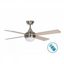 Ventilatore da soffitto, Volt, 122cm, corpo cromato-pale grigio/ acero, termostato, wifi, luce + dimmer, termostato, Klassfan.