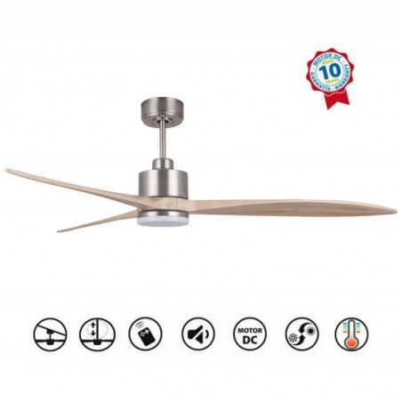 Ventilatore da soffitto, Latino III-LT, 166cm, DC, cromo/legno chiaro, super-destratificatore, LED+ dimmer, wifi, Klassfan