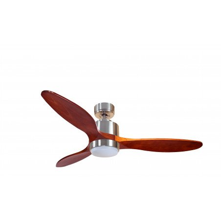 Ventilatore da soffitto, Modulo, 132 cm, DC, cromo/legno, superdestratificatore,  termostato, wifi, LED klassfan