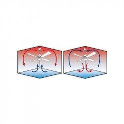 Ventilatore da soffitto-destratificatore, Modulo, 166 cm,  DC, corpo cromato/pale legno chiaro, termostato, wifi, LED, Klassfan