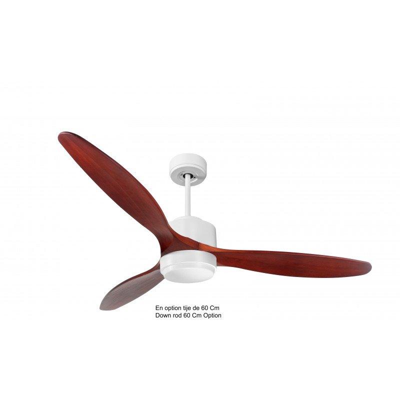 Ventilatore da soffitto-destratificatore, Modulo, 166cm, corpo bianco-pale in legno, termostato e wifi, luce LED, Klassfan