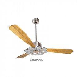 Ventilatore da soffitto-destratificatore, Modulo, 166 cm, DC, corpo cromato/legno chiaro, termostato, wifi, LED, Klassfan