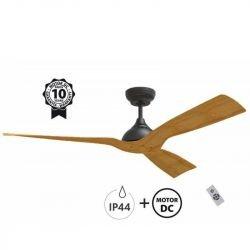 Ventilatore da soffitto, Waterwind Wi IP44, 132cm, ideale per esterni coperti, corpo nero/pale legno, telecomando+wifi, Klassfan