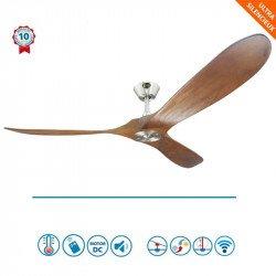 Ventilatore da soffitto , Geronimo BS-DW , 152 Cm, DC, design, corpo cromo, pale legno scuro, termostato e wifi, Klassfan.