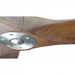 Ventilatore da soffitto HVLS, Geronimo BS-DW , 223 Cm, DC, design, corpo cromato, pale legno scuro, termostato e wifi, Klassfan.