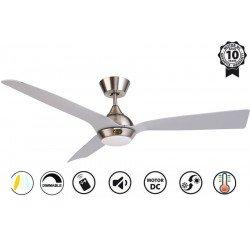 Ventilatore da soffitto, Hackney II Silver , 132 cm, design, cromo/ argento, DC, LED+dimmer, IP20, wifi, Klassfan