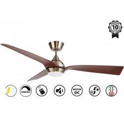 Ventilatore da soffitto, Hackney II Laiton , 132 cm, design, ottone/ ciliegio, DC, LED+dimmer, IP20, wifi, Klassfan