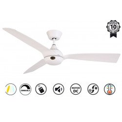 Ventilatore da soffitto, Hackney II White , 132 cm, design, bianco, DC, LED+dimmer, IP20, wifi, Klassfan