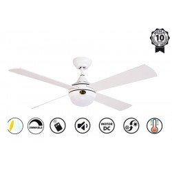 Ventilatore da soffitto, Raica II, DC, 122cm, bianco/argento, LED, telecomando, wifi,  Klassfan