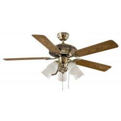 Ventilatore da soffitto, Centurion 132 MA, 132 cm, classico, ottone antico/quercia/noce, con luce, Casafan.