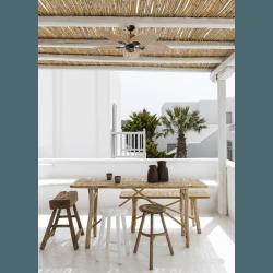 Ventilatore da soffitto, Palma, 130cm, per esterni, stile tropicale, comando a parete, Lba Home.