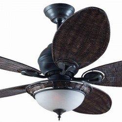 Ventilatore da soffitto, Carribbean Breeze VB, 132cm,coloniale, bronzo/ pale vimini scuro, con luce, Casafan.