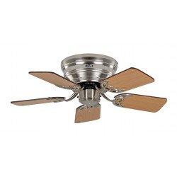 Ventilatore da soffitto, Classic Flat 75-III BN, Ø 79,2 cm, cromo spazzolato/noce/faggio, Casafan.
