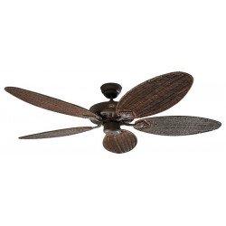 Ventilatore da soffitto,Classic Royal 132 BA Rattan, 132 cm, corpo marrone antico/pale vimini intrecciato,Casafan.