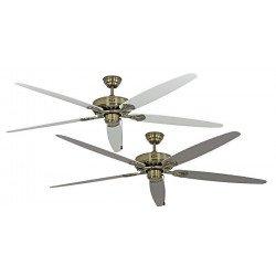 Ventilatore da soffitto, Classic Royal MA W/L, 180cm,  ottone antico/ grigio chiaro/bianco, Casafan.
