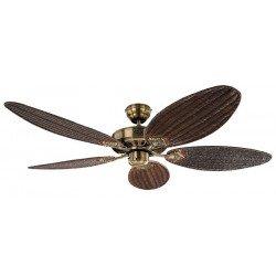 Ventilatore da soffitto,Classic Royal 132 MA Rattan, 132 cm, corpo ottone antico/pale vimini intrecciato,Casafan