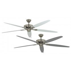 Ventilatore da soffitto, Classic Royal 180 BN W/L, 180cm, cromo/bianco/grigio, Casafan.