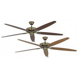 Ventilatore a soffitto, Classic Royal MA A/N, 180cm, ottone antico/rovere/noce, Casafan.
