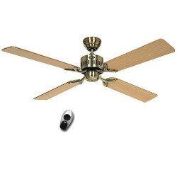 Ventilatore da soffitto, Telesto MA, 132 Cm, silenzioso ottone anticato. lame di quercia e faggio, telecomando, CASAFAN