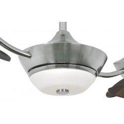 Efan Ventilatore a soffitto 107 cm in acciaio spazzolato, affrontano doppie lame di noce, lampada, originale silenzioso