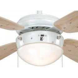 Ventilatore da soffitto, 105cm, bianco/pino, con luce, Fan Boutique.