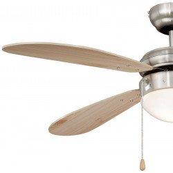 Ventilatore da soffitto, 105 cm, acciaio nichelato/pino, con luce, Fan Boutique