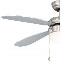 Ventilatore a soffitto,105 cm  acciaio nichelato/ argento, con luce, Fan Boutique.
