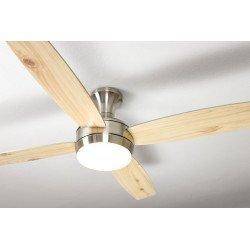 Ventilatore da soffitto, Saturn, 132cm, nichel satinato/argento/pino, con luce, telecomando.