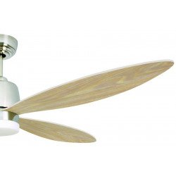 Ventilatore da soffitto, Stratus, 132 cm , moderno, luce LED, nickel satinato e pale in acero appuntite,reversibile, Pépeo.
