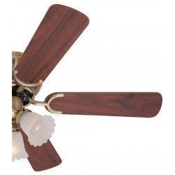 Ventilatore da soffitto, Kissa, 105 cm, stile classico, ottone anticato, pale double face, reversibile, con luce.
