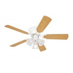Ventilatore da soffitto, Kissa, 105 cm, stile classico, corpo bianco, pale double face acero/bianche, reversibile, con luce.