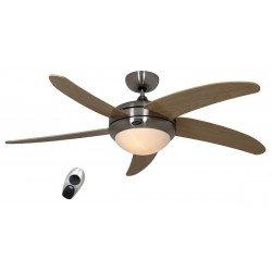 Ventilatore da soffitto, Elica BH-AH, 132cm, silenzioso, corpo cromato, pale acero, con luce, Casafan.