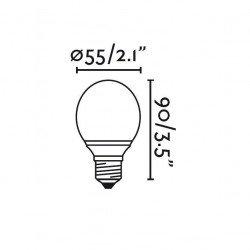Pack di 4  lampadine sferiche, LED E27 3W, bianco caldo.