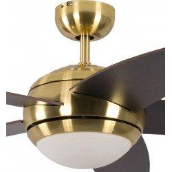 Ventilatore da soffitto, Melton, 132 cm, pale Wengé e corpo in ottone lucidato, con luce, silenzioso, Pépeo