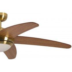 Ventilatore da soffitto, Melton, 132 cm, pale in ciliegio, ottone antico spazzolato, con luce, silenzioso, Pépeo