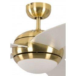 Ventilatore da soffitto, Melton, 132 cm, pale bianco lucide e corpo in ottone lucidato, con luce, silenzioso, Pépeo
