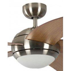 Ventilatore da soffitto, Melton, 132 cm, pale ciliegio , corpo cromo spazzolato, con luce, silenzioso, Pépeo
