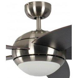 Ventilatore da soffitto, Melton, 132 cm, pale Wengé , corpo cromo spazzolato, con luce, silenzioso, Pépeo