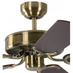 Ventilatore da soffitto, Potkuri, 132cm, classico, ottone antico, pale noce/paglia di vienna, senza luce, Pépeo