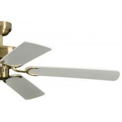 Ventilatore da soffitto, Potkuri, 132cm, classico, ottone antico, pale bianche/paglia di vienna, senza luce, Pépeo