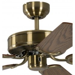 Ventilatore da soffitto, Potkuri, 132cm, classico, ottone antico, pale rovere/paglia di vienna, senza luce, Pépeo