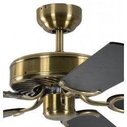 Ventilatore da soffitto, Potkuri, 132cm, classico, ottone antico, pale nere/nere con due righe argentate, senza luce, Pépeo
